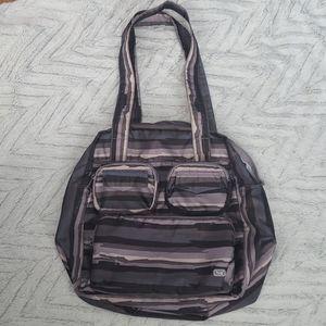 Lug puddle jumper carryall tote bag brown striped